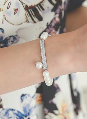 リアルシルバースティック真珠ブレスレット