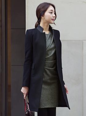 シンプルカラー配色毛織コート