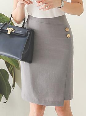 ツーボタン斜線切開スカート