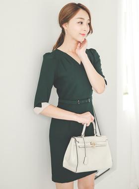 女性シャーリングサプリメントレスドレス