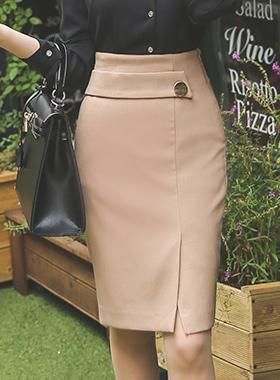 ラップバンドゴールドボタンスリットスカート