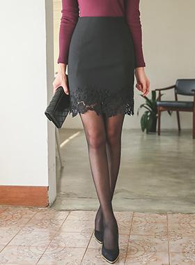 裾刺繍レイススカート