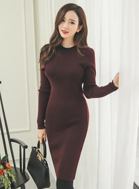 ベーシックラインニットドレス