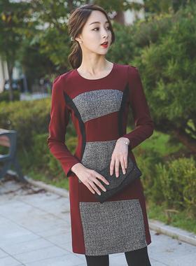 シルバーボールライニング配色ドレス
