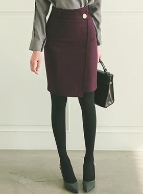 ヘリンボーンゴールドボタンフォーマルラップスカート