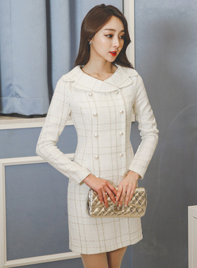 セラパールボタンツイードドレス