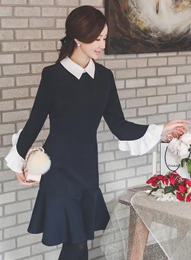 ロマンチックラッフルスエードドレス