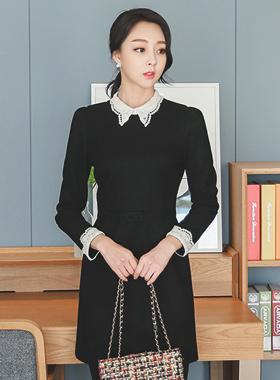 ロマンチックレースカラー毛織ドレス