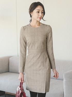 ヘリンボーンチェック毛織ドレス