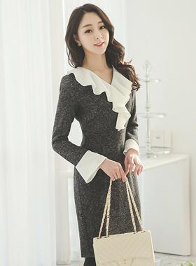 女性ラッフルボカシ毛織ドレス