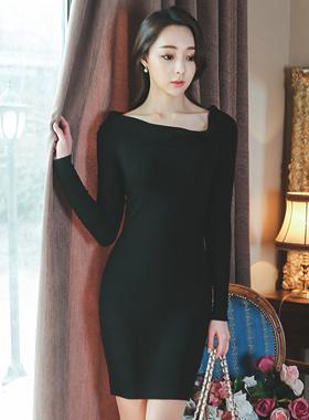 ロマンチックリボンオフネックニットドレス