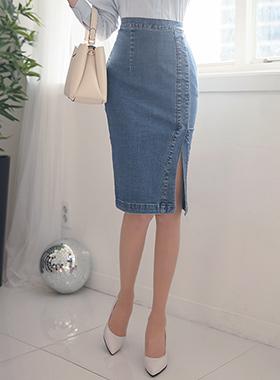 スリム切開淡い青色のデニムスカート