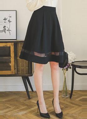 サシャシーツルー配色フレアスカート
