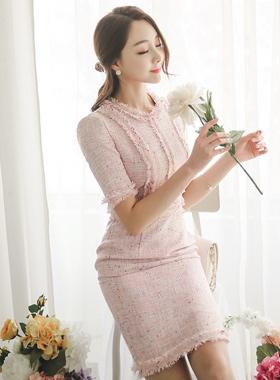 パリスカラーツイードドレス