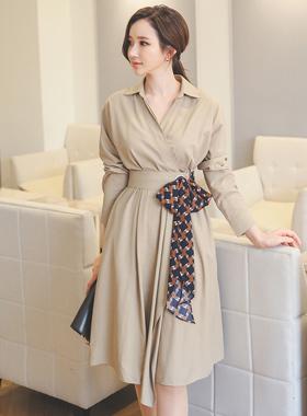 スカーフリボンベルトドレス(長袖)