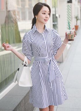ヴィヴィアンストライプシャツドレス