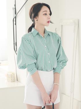 バルーン袖ビビッドストライプシャツ