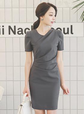 ソリッドドレープシャーリングドレス(半袖)
