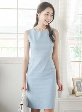 ベーシックリネンテクスチャ袖なしドレス