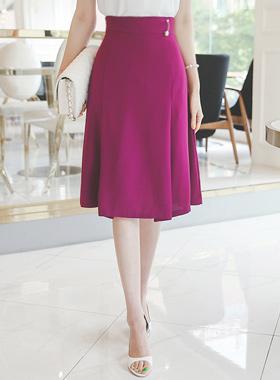 真珠のブローチピンタックAラインスカート