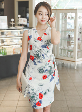 カメリアサイドリボンシャーリングドレス