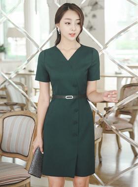 キュービックベルトボタンハートネックドレス