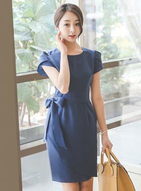 女性リボンベルトチューリップドレス