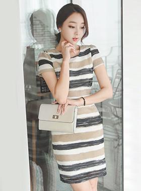 マッシュ織り配色ドレス