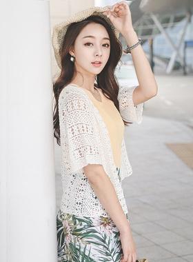 刺繍レイス裾リボンカーディガン