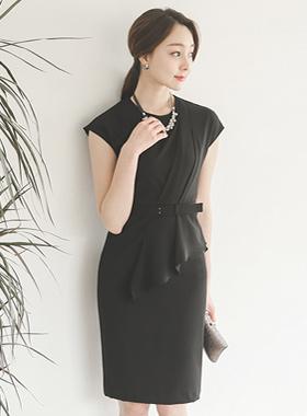 アレックス斜線ドレープシャーリングドレス