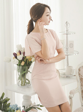 真珠スリットスリーブシャーリングドレス