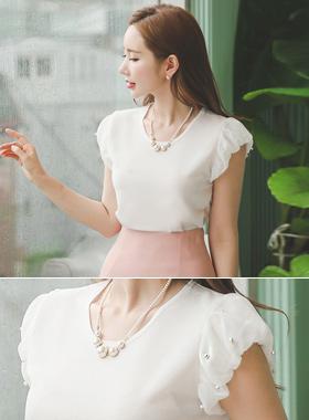 真珠シーポンパフ袖ブラウストップ