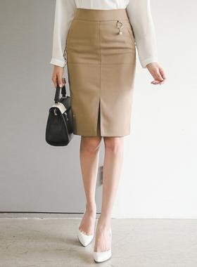 パールリングポケットラインスリットスカート