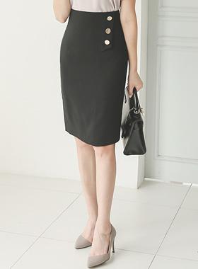 フラップゴールドボタンフォーマルHラインスカート