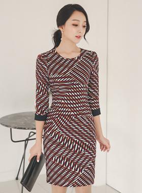 斜体スティックパターン配色ドレス