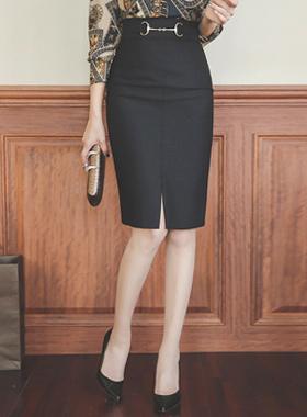 ラグジュアリーゴールド装飾ハイウエストスカート