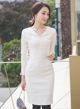 オープンカラー真珠ツイードドレス