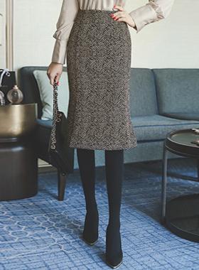 ヘリンボーンセミマーメイドスカート