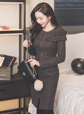 ギャザーフリルロングジッパー毛織ドレス
