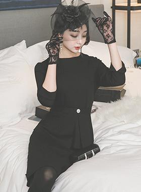 エレガンスキュービックページプラムSETドレス