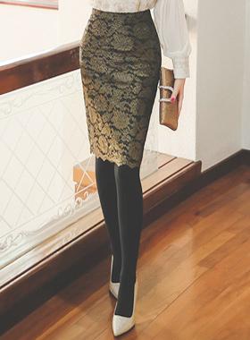 ラグジュアリーゴールドパールレイススカート