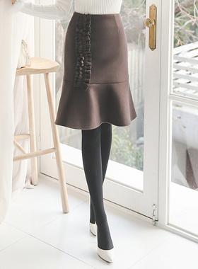 ギャザーフリル毛織マーメイドスカート