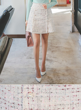 シャインパールボタンツイードスカート