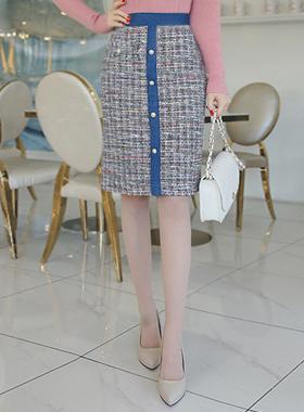 スイートデニムツイードスカート