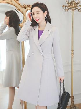 女性パールボタンAラインロングジャケット