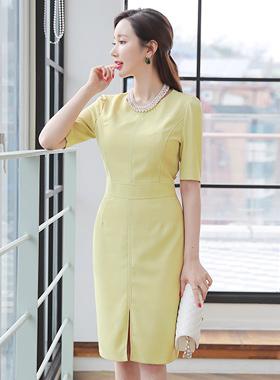 女性フォーマルスリットドレス(半袖)