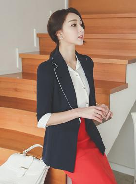 シンプル配色袖シングルジャケット