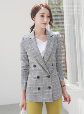 サマーダブルボタンリネンチェックのジャケット