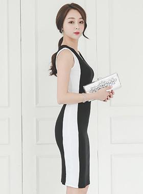 サイドライニングスリムドレス