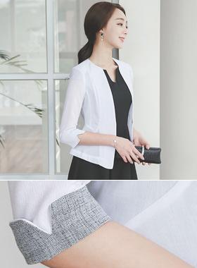 シンプル袖配色スリムショートジャケット